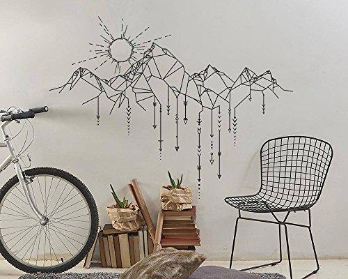 Pegatina montañas geometricas 97 x 70 cm color negro para dormitorio salon cuartos de OPEN BUY