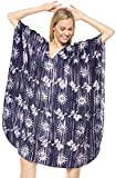 LA LEELA 5 in 1 leichte 100% Baumwolle Hand Batik Tunika Abend Casual Dress Bikini Kimono Badebekleidung der Frauen verschleiern Lounge Bademode Plus Kurze gemütliche Nacht Kaftan Marineblau
