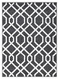 Hochwertiger Teppich LUXUS Modern Verschiedene Muster und Größen Weiß Grau (80x150)