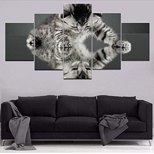 Fbhfbh Modulare Bilder Hd Drucke Leinwand Tier Katze Malerei 5 StückeSchöne WohnkulturFür KinderzimmerWandkunst Kunstwerk Poster, 12X16 / 24/32 Zoll, Ohne Rahmen