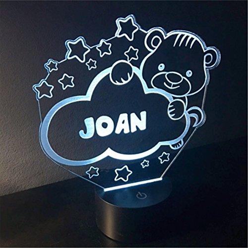 Bär, Kinder-Personalisiert mit Namen, Nachtbeleuchtung LED, Nachtlicht, entfernen Ängste-Nacht LED Licht. Ideal für die Zimmer Babys und Kinder. Bestseller von VPM Original