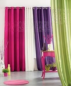 Douceur d'Intérieur Rideau à Oeillets Taffetas Ajoure Perline Polyester Prune 260 x 140 x 260 cm