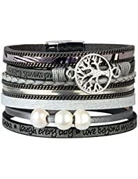 JAOYU Bracelet Cuir Femmes Charms Bracelets Filles Bracelet Manchette Tressé Bijoux Faits à la Main - Sœur, mère, Cadeaux d'amitié
