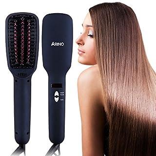 Haarglätter Bürste, ARINO Keramische Glättbürste Stylingbürste, mit Ionen-Technologie und LCD Anzeige