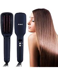 ARINO Brosse Lissante Chauffante Ionique, Lisseur Cheveux Professionnel Anti-statique et Anti-brûlure, Brosse Lissante MCH avec LCD pour Lissage Rapide et Naturel