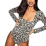 Linkay T Shirt Damen Langarm Bluse Leopard Tops Quadratischer Ausschnitt Oberteile Mode 2019 (Gelb, Medium)
