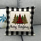 Nortongrace Novelty New Merry Christmas Linen Pillowcase Xmas Throw Cushion Cover Deer Red Plaid Cover Case Gift Home Decor (The Pillow Inner Is Not Included)(None 5)