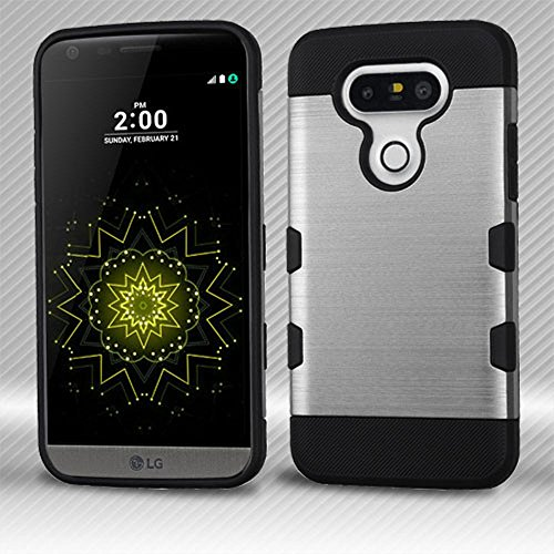 MyBat TUFF Trooper Schutzhülle für LG G5, Silver/Black Brushed Premium Hardshell Case
