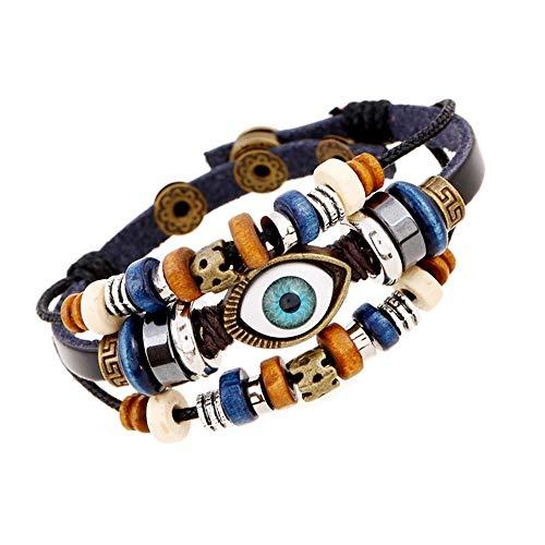 AFCITY Herren Armband, Schmuck Mode Multi Layer Armband Armreif Manschette Armband Leder Kette Wrap Geschenk Schmuck für Männer (Farbe : Schwarz, Größe : Button Style) - Black Button Studio