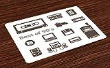 ABAKUHAUS Anni 90 Tovaglietta Americana, Gadget degli Anni 90 Disegno con Desktop Computer Videogioco Joystick Tema Nostalgia, Tessuto Lavabile Tovaglietta Decorazione del Tavolo, Marrone