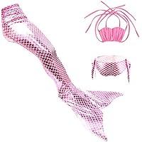 THEE 3pcs Traje de Baño de Cuello Hálter con Cola de Sirena Bikini Set para Niña