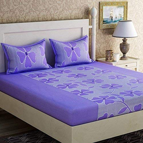Urban Home Glace Cotton King Size Double Bedsheet (Multi!_Set of 1 Bedsheet and 2 Pillow covers)