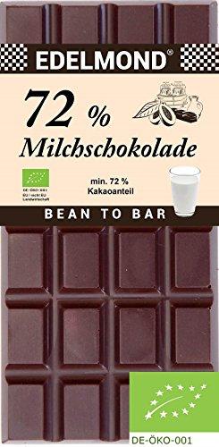 Edelmond® Bio 72% Milchschokolade, dunkle Kakaobohnen ✓ Wenig Zucker ✓ Premium Milch Bitterschokolade ✓ Geschmeidig Zartbitter ✓ Fair-Trade ✓ Bestes Geschenk ✓