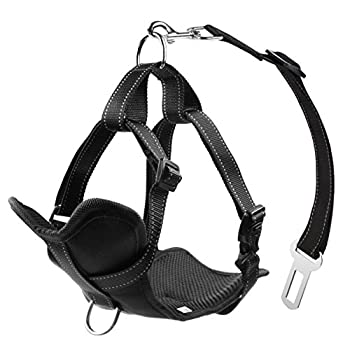 Lifepul Chien Sécurité Vest Harness, Pet Dog Veste Réglable avec Voiture Nylon Ceinture de Sécurité Clip de Plomb pour le Transport