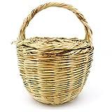 Rouven Sale Icone Parisienne Picnic Basket Tote Bag/Beige / L/Weidenkorb mit Deckel Korbtasche Bastkorb Strandkorb Strandtasche Tasche Henkeltasche/modern chic rund groß/W 25-27cm