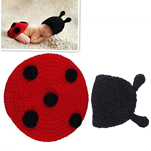 PQZATX Marienkaefer Baby Saeuglingskostuem Foto Fotostropfen Tier Hut Kappe 0-6 Monate - 0 3 Monat Marienkäfer Kostüm