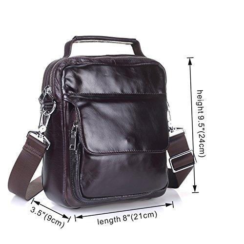 Namneblue Herren Echtes Leder Handtasche Schultertasche Umhängetasche Aktentasche Vertical Retro Mit Reißverschluss (Kaffee) Kaffee