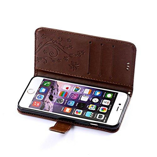 iPhone 6S Hülle, SpiritSun PU Leder Wallet Schutzhülle für Apple iPhone 6 6S (4.7 Zoll) Blume und Schmetterling Muster Bookstyle Design Ledertasche Case Tasche mit Standfunktion und Kredit Kartenfäche Braun