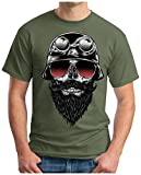 OM3 - SKULL-RIDER - T-Shirt MOTORCYCLE CUSTOM BIKE CHOPPER CHAIN EMO PUNK ROCK, XL, oliv