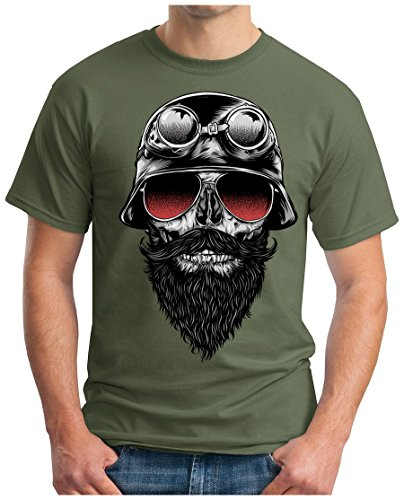 OM3 - SKULL-RIDER - T-Shirt MOTORCYCLE CUSTOM BIKE CHOPPER CHAIN EMO PUNK ROCK, XXL, oliv (T-shirt Emo Rock)