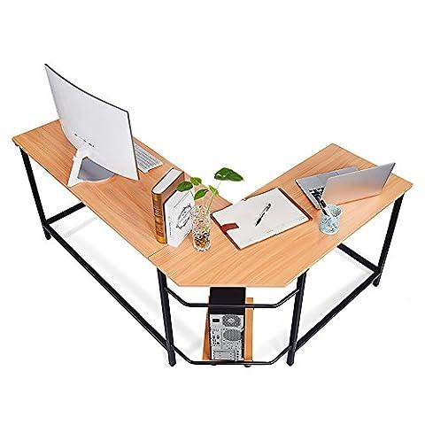 L-Shaped Corner Computer Desk Large Corner PC Laptop Study Table Workstation Home Office Wood & Metal, Wood