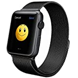 OULUOQI-Apple-Watch-Band-Milanese-Loop-Strap-Magnetic-Closure-Stainless-Steel-Black-42mm