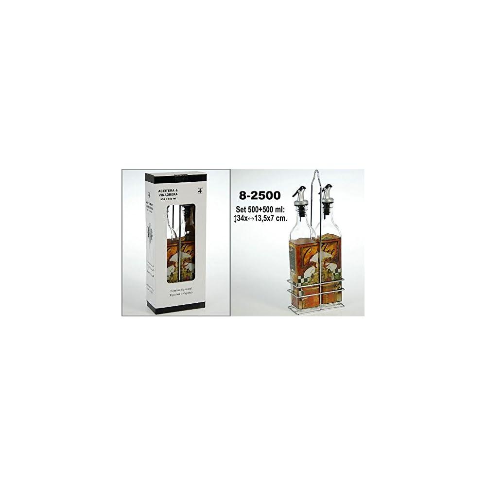 Donregaloweb Set Und Lflasche Aus Glas Mit Halterung Aus Metall Dekoriert Mit Bildern Von Kche 500 Ml Kapazitt