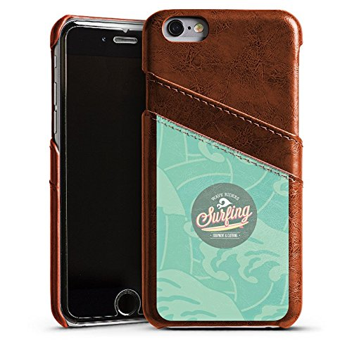 Apple iPhone 5 Housse étui coque protection Surfer Surfeur Été Étui en cuir marron