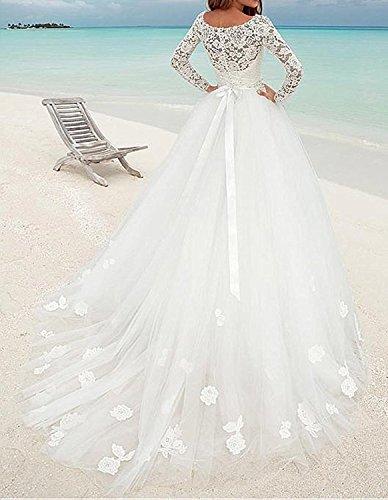 Cloverbridal Elegant Brautkleider Spitze Hochzeitskleider für Damen Prinzessin Lange Ärmel (32, Weiß) - 2