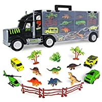 SKAJOWID Dinosaur Transporter Truck, Car Transporter Toy Car 6 Dinosaur Figures with Carrying Handle Jurassic World Toy And 4 Mini Cars, Suitable for Children From 3 Years, Birthday Gift
