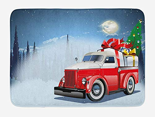 Christmas Bath Mat, Red And White American Truck in December Winter Night Moon And Stars Tree, Plush Bathroom Decor Mat with Non Slip Backing, 23.6 W X 15.7 W Inches, Blue Red White