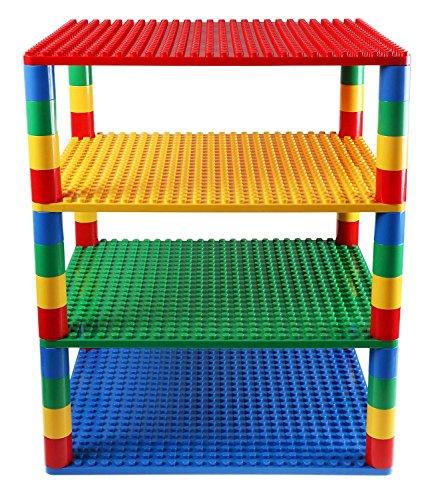 Premium-Set für runde Turm-Konstruktionen - 4 Bauplatten & 48 Bausteine - mit allen Marken für große Bausteine kompatibel - Blau, Grün, Rot, Gelb