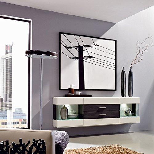 Design Sideboard hängend - Weiß ML / Esche Grau Nachbildung, Soft Close-Dämpfung / Selbsteinzug, Wohngalerie
