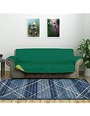 @home by Nilkamal Reversible 3 Seater Polyester Sofa Cover, Emerald & Light Green