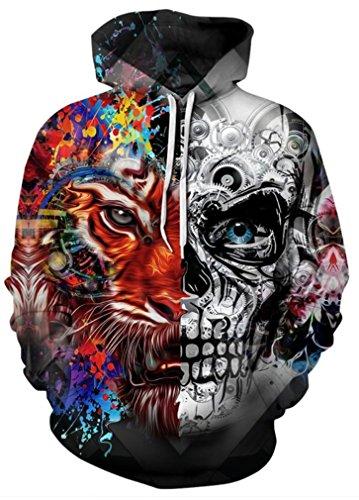 AMOMA Jungen Digitaldruck Kapuzenpullover Tops Fashion Hoodie Pullover Hooded Sweatshirt(S/M,Double Edge Skull) Edge Pullover Hoodie