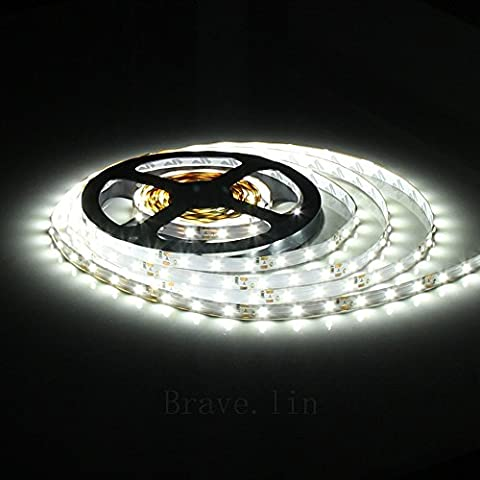 CMC LED Light Lamp® LED Strip Lights SMD 3528 16.4 Ft (5M) 300leds 60leds/m White Flexible Rope Lighting Tape Lights in DC Jack for Boats, Bathroom, Mirror, Ceiling