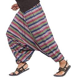 The Harem Studio Hombre Mujer Pantalones Harem Unisex Bombachos Ligeros, Hippies, de algodón, Casuales, Boho, Hechos a Mano para Yoga - Estilo Multi Stripes (Azul Verde Rosa)