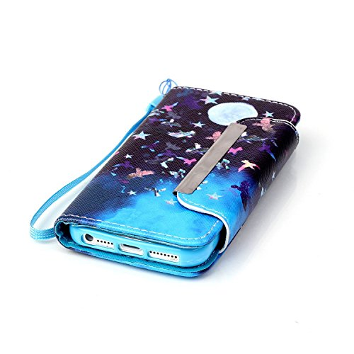 Sunroyal® Flip Magnetic Wallet Etui pour iPhone SE, iPhone 5 5s Coque Housse de Protection Rabat en PU Cuir Book-style Case Cover Coquille Arrière + Bouchon Anti-poussière + Film Protège écran Offert  Motif 02