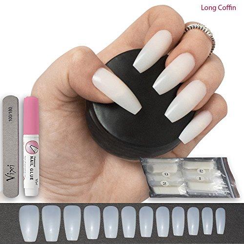 Vixi Lot de 500 faux ongles, forme cercueil long / ballerine, 12 tailles, ongles naturels de taille moyenne pour un usage professionnel et personnel, colle et petite lime incluses