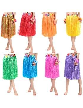 Matissa Falda hawaiana de Hula y traje de leis de flores para mujer Disfraz de Luau de dos tallas Largo (60 Cm...