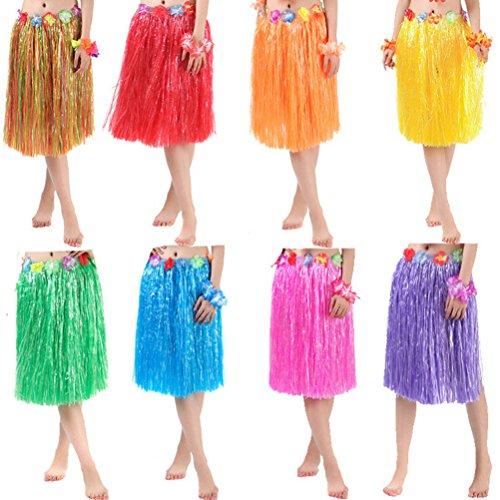 Rock und Flower Leis Kostüm Set für Damen Luau Kostüm in Zwei Größen Lang (60 cm) und Kurz (40 cm) (Lang (60 cm), Blau) ()
