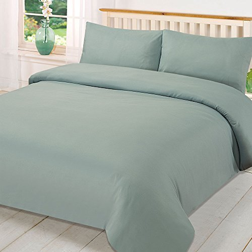 Brentfords Plain Dye Duvet Quilt Cover with Pillow Cases Bedding Set - Duck Egg, Double