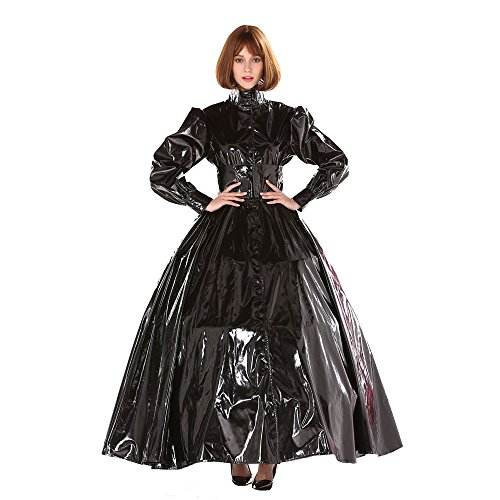 GoceBaby Gothic Punk Cool Schwarz PVC Ball Gown Kleid Kostüm Transvestit (Kostüme Transvestit)