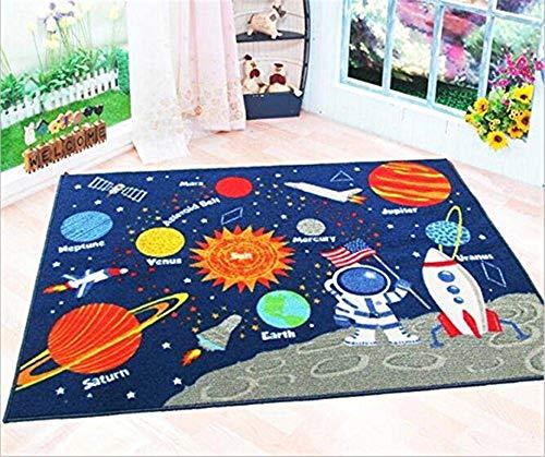 Kinder-fun-teppich (GRENSS Blue Kids Fun Bereich Teppich Kinderzimmer Teppiche Sonnensystem Kinder Teppich pädagogischen Lernen Teppiche 100 * 130 cm)