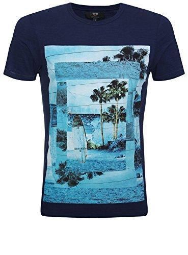 oodji Ultra Herren T-Shirt mit Strand-Druck Blau (7579P)