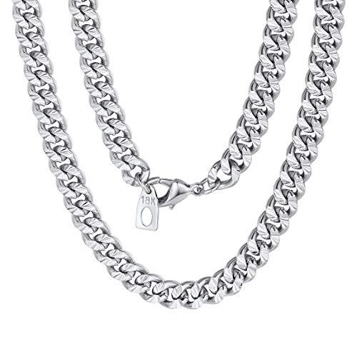 ChainsPro Herren Halskette Panzerkette Edelstahl Messing (Silber, 7 mm Breite)