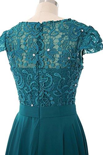 Carnivalprom Damen Elegant Chiffon Applikation Rundkragen Lang Abendkleider Partykleider Festkleider Tanzenkleider Braun