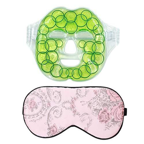 FLAMEER Freezable Microwavable Wiederverwendbare Gesichtsmaske Gel Heat Cold Pack + Silk Eye - Microwavable Heat Pack