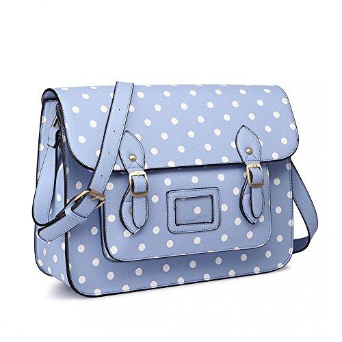 Miss Lulu - Borsa a tracolla Bambina donna bambina Polka Dot Blue