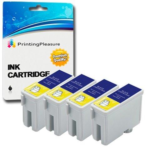 4 SCHWARZ Druckerpatronen für Epson Stylus C62, CX3200 | kompatibel zu T040 (Schwarz C62 Cx3200 Tinte Epson)
